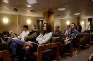 Students intensely listen as Dr. Michael Huemer discuses the roles of authority. [Photo by Maureen Bayne]