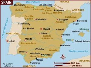 Map of Spain - from lonelyplanet.com