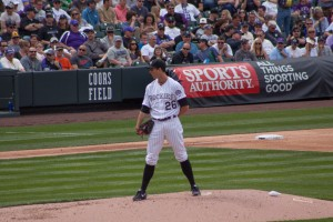 Jeff Francis waits to throw the opening pitch on April 5, 2013. Photo by Ashley Hattle