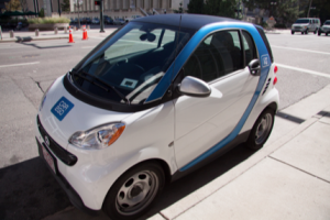 Swipe & Go:  Denver is rampant with more than 250 of these smart car short-term rentals, making it easy for anyone to sign-up and enjoy the perks of having a car without the price of owning one. [Photo by Ashley Hattle]