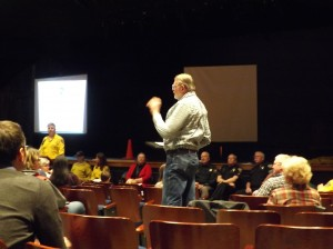 Local community members ask EFR questions. [Photo by Sarah Courtney]
