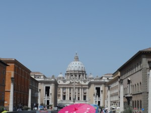 Clear summer day at St. Peter's Basilica, Vatican City  [photo by Teresa Szabo]