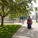 Yoko Yokota walks 45 minutes to get back to the women's shelter on July 1.  Photo by Melanie J. Rice • mrice20@msudenver.edu