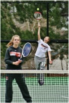 Lakewood juniors Rachel Hynes and Lauren Freeden conquer the court during a JV tennis match. (Photo by Sarah Courtney)