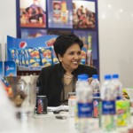 Indra K. Nooyi, PepsiCo Chairman and CEO sits a table surrounded by PepsiCo, Inc products (Photo provided by PepsiCo, Inc)