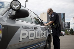 Chris Sabin is approaching his 14th year with the Auraria Campus Police Department. The years have left Sabin with stories for every inch of grounds he patrols. Photo by Sara Hertwig