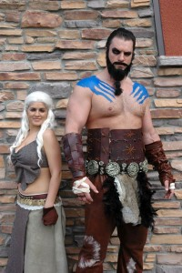 Fans of Game of Thrones dressed as Khaleesi and Khal Drogo. [Photo: Duane Hirschfeld]