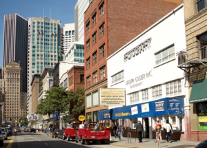 The landmark Adolph Gasser Photography store on Second Street in San Francisco, faces termination due to the construction of a new high-speed rail system set to run through the heart of the city. [Photo: Sarah Courtney]