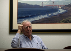 Gasser sits in the office of his father's landmark photography store on Second Street in San Francisco. The store front will be shit down due to the ongoing construction of a new rail system set to run through the city.