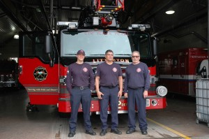 Little Fire Rescue #12, from left to right - Cory Lambert, Dominic Penaflor and Robert Lovelace. [Photo: Duane Hirschfeld]